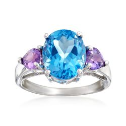 6.00 Carat Blue Topaz and .60 ct. t.w. Amethyst Ring in Sterling Silver, , default