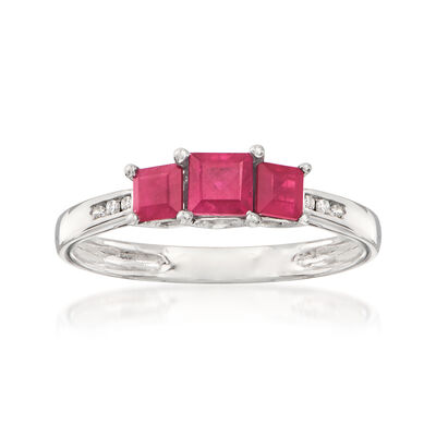 .80 ct. t.w. Ruby Three-Stone Ring in 14kt White Gold with Diamond Accents, , default