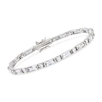 """8.25 ct. t.w. Round and Baguette CZ Bracelet in Sterling Silver. 7"""", , default"""