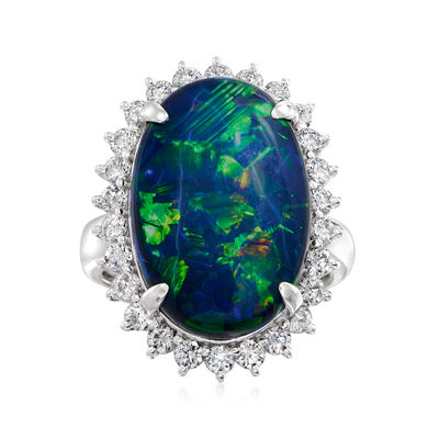 C. 1980 Vintage Black Opal and .93 ct. t.w. Diamond Ring in Platinum