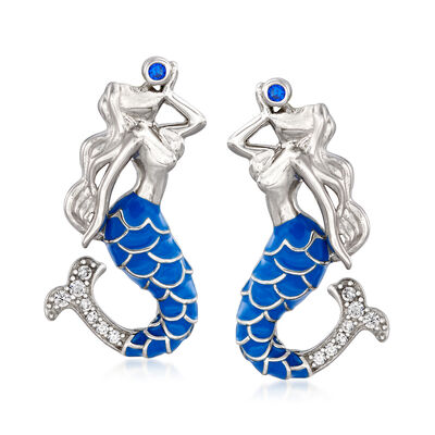 .10 ct. t.w. White Topaz and Blue Enamel Mermaid Drop Earrings with Simulated Sapphire Accents in Sterling Silver
