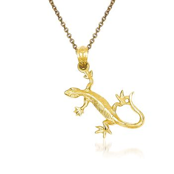 "14kt Yellow Gold Lizard Pendant Necklace. 18"", , default"