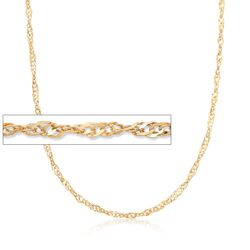 "C. 2000 Vintage 3mm 14kt Yellow Gold Rope Chain Necklace. 29.75"", , default"