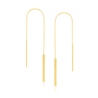 14kt Yellow Gold Linear Bar Threader Earrings