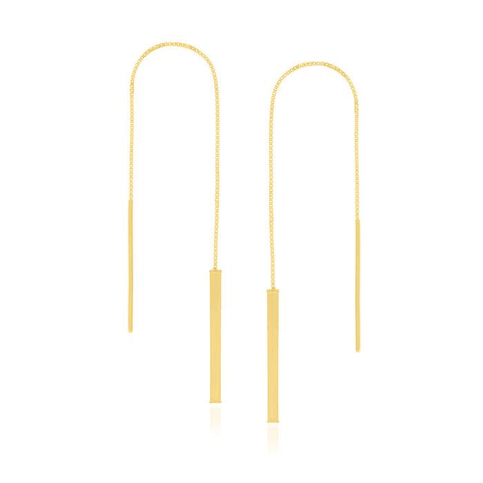 14kt Yellow Gold Linear Bar Threader Earrings