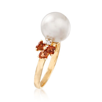 10-10.5mm Cultured Pearl and .90 ct. t.w. Garnet Ring with Diamond Accents in 14kt Yellow Gold, , default