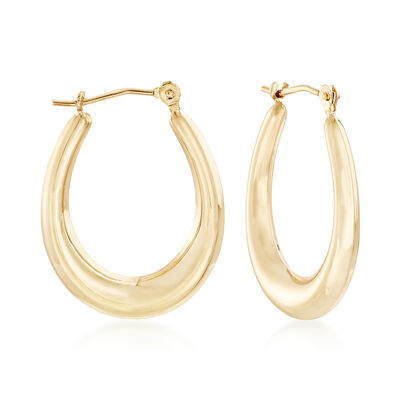 14kt Yellow Gold Oval Hoop Earrings , , default