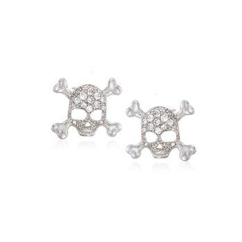 .25 ct. t.w. CZ Skull and Crossbones Earrings in Sterling Silver, , default