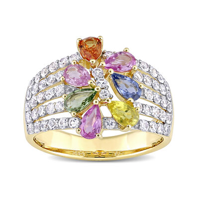 2.92 ct. t.w. Multicolored Sapphire Floral Ring in 14kt Yellow Gold