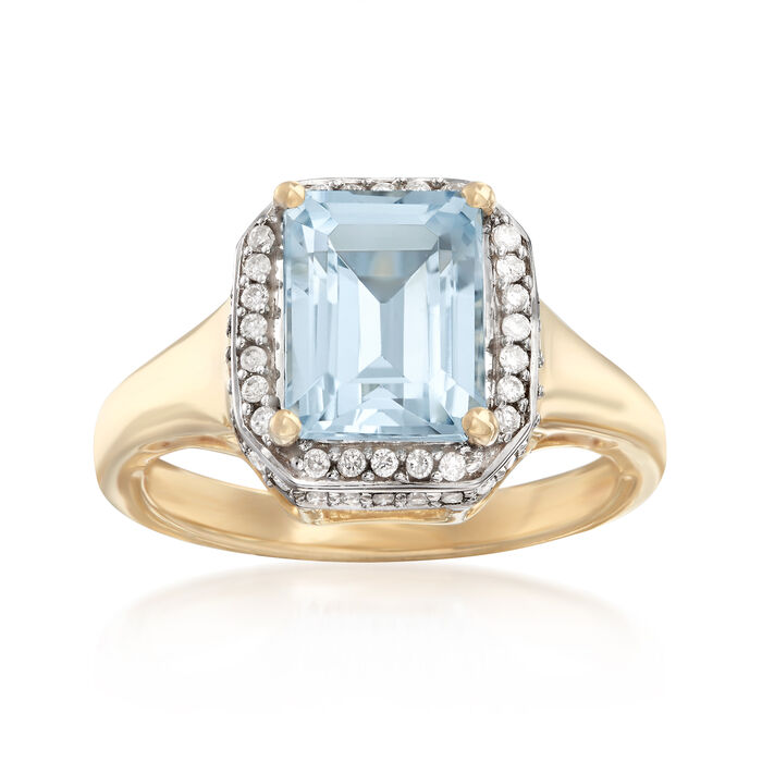 1.60 ct. t.w. Aquamarine and .28 ct. t.w. Diamond Ring in 14kt Yellow Gold, , default