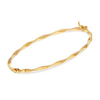 "14kt Yellow Gold Twisted Ribbon Bangle Bracelet. 8"", , default"