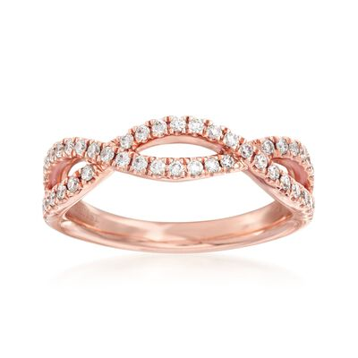 Henri Daussi .35 ct. t.w. Diamond Twist Wedding Ring in 18kt Rose Gold, , default