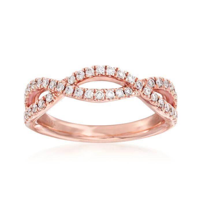 Henri Daussi .35 ct. t.w. Diamond Twist Wedding Ring in 18kt Rose Gold, , default