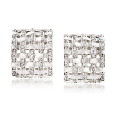 1.20 ct. t.w. Diamond Basketweave Drop Earrings in 14kt White Gold , , default