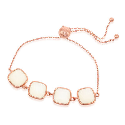 Cabochon Moonstone Bolo Bracelet in 18kt Rose Gold Over Sterling, , default