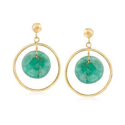 11.00 ct. t.w. Emerald Drop Earrings in 14kt Yellow Gold
