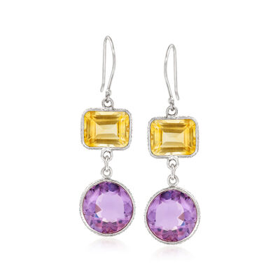 9.50 ct. t.w. Amethyst and 6.00 ct. t.w. Citrine Drop Earrings in Sterling Silver