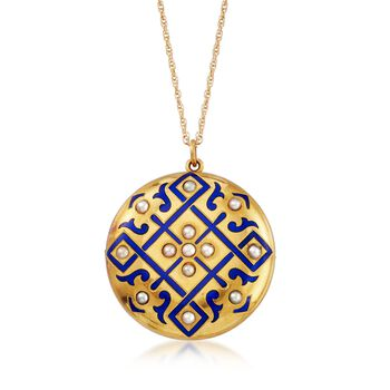 """C. 1863 Vintage Blue Enamel and Seed Pearl Pin Pendant Necklace in 14kt Yellow Gold. 18"""", , default"""