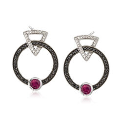 .60 ct. t.w. Rhodolite Garnet and .30 ct. t.w. Black Spinel Earrings With Diamonds in Sterling Silver, , default