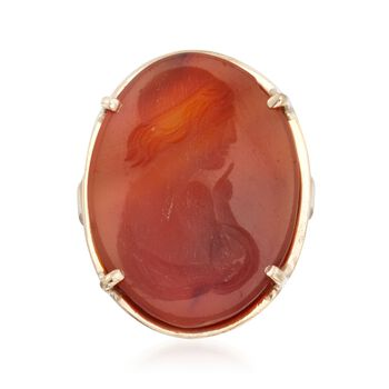 C. 1950 Vintage Carved Agate Cameo Ring in 14kt Yellow Gold. Size 4.5, , default