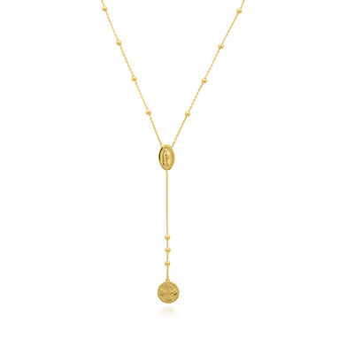 14kt Yellow Gold Duo Virgin Mary and Cross Necklace