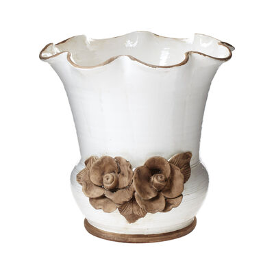 "Vietri ""Rustic Garden"" Scalloped Planter with Flowers from Italy"