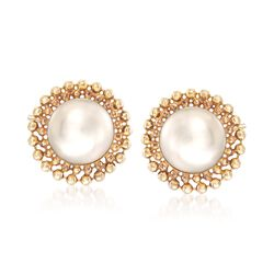 8-8.5mm Cultured Pearl Earrings With Beaded Frames in 14kt Gold , , default