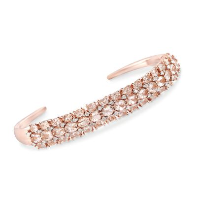 8.20 ct. t.w. Morganite and .48 ct. t.w. Diamond Cuff Bracelet in 14kt Rose Gold Over Sterling, , default