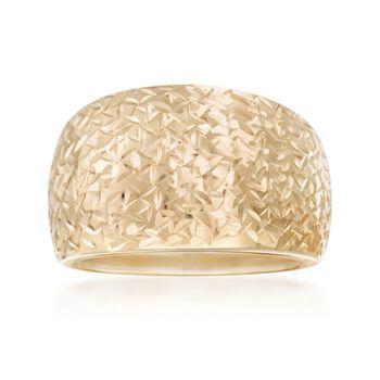 Italian 18kt Yellow Gold Diamond-Cut Dome Ring. Size 6, , default