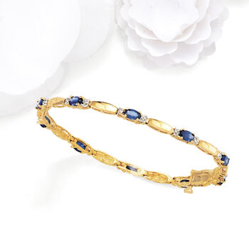 """3.80 ct. t.w. Sapphire and .10 ct. t.w. Diamond Bracelet in 14kt Yellow Gold. 7.75"""", , default"""