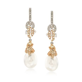 9.5-10mm Cultured Pearl and .40 ct. t.w. Citrine Sealife Drop Earrings With Diamonds in Two-Tone Sterling Silver, , default