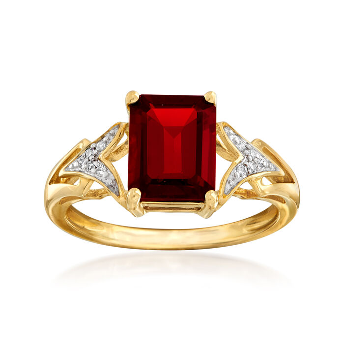2.20 Carat Emerald-Cut Garnet Ring with Diamond Accents in 14kt Yellow Gold