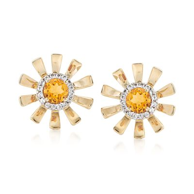 .90 ct. t.w. Citrine and .20 ct. t.w. White Topaz Sunflower Earrings in 14kt Yellow Gold , , default