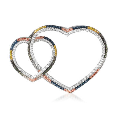 .36 ct. t.w. Multicolored Diamond Double Heart Pin in Sterling Silver and 18kt Gold Over Sterling, , default
