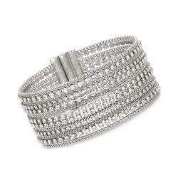 Swarovski Crystal Multi-Row Chain-Link Bracelet in Silvertone, , default