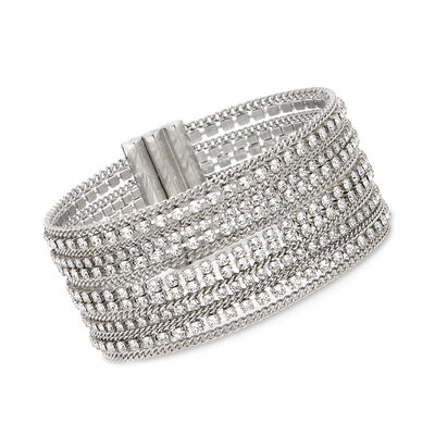 Swarovski Crystal Multi-Row Chain-Link Bracelet in Silvertone, , default