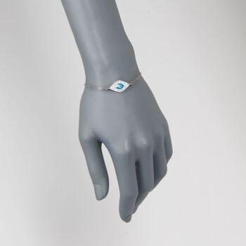 """.50 ct. t.w. CZ and Enamel Evil Eye Bracelet in Sterling Silver. 6.5"""""""