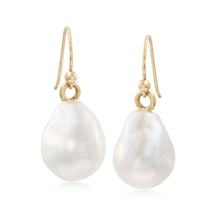 12-14mm Cultured Baroque Pearl Drop Earrings in 14kt Yellow Gold
