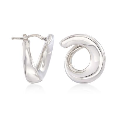 Italian Sterling Silver Swirl Hoop Earrings, , default