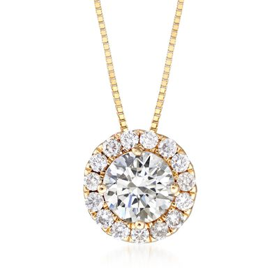 1.00 ct. t.w. Diamond Halo Pendant Necklace in 14kt Yellow Gold, , default