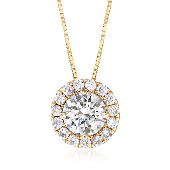 "1.00 ct. t.w. Diamond Halo Pendant Necklace in 14kt Yellow Gold. 18"", , default"