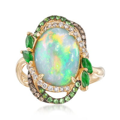 Opal and .59 ct. t.w. Multi-Stone Ring in 14kt Yellow Gold