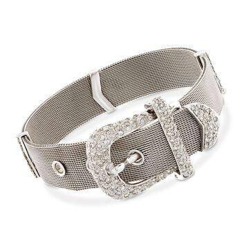 "C. 1970 Vintage 1.81 ct. t.w. Diamond Buckle Bracelet in 18kt White Gold. 7"", , default"