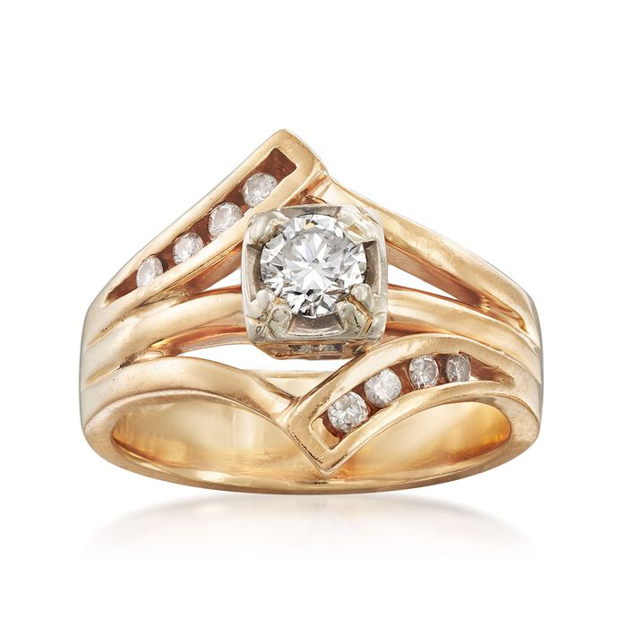 C. 1990 Vintage .51 ct. t.w. Diamond Ring in 14kt Yellow Gold. Size 7