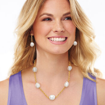 14-16mm Cultured Baroque Pearl and 14kt Yellow Gold Byzantine Station Necklace, , default