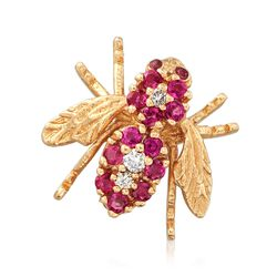 C. 1980 Vintage .75 ct. t.w. Ruby and .15 ct. t.w. Diamond Bee Pin in 14kt Yellow Gold , , default