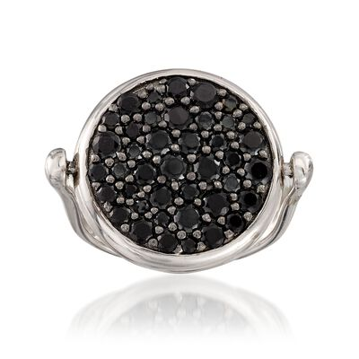 Italian Sterling Silver Flip Ring With 1.70 ct. t.w. Black Spinels and Genuine 50-Lira Micro Coin, , default
