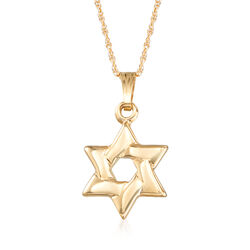 "Child's 14kt Yellow Gold Star of David Necklace. 15"", , default"