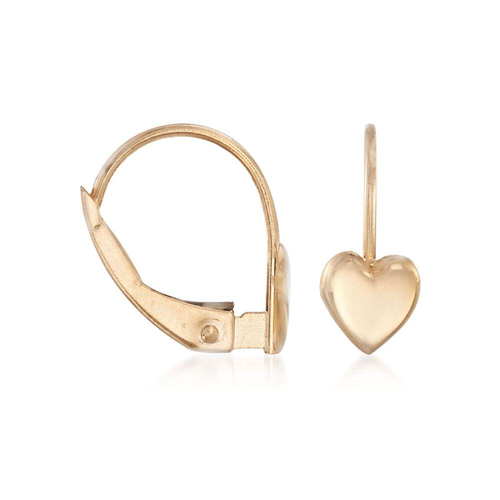 c4eab90cb Child's 14kt Yellow Gold Heart Drop Earrings | Ross-Simons