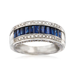C. 1990 Vintage 1.65 ct. t.w. Sapphire and .25 ct. t.w. Diamond Ring in 14kt White Gold, , default